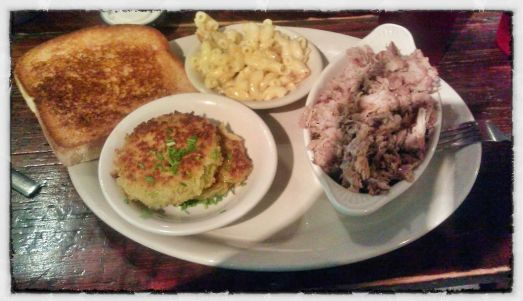 Swallow at the Hollow's Chopped pork with fried green tomatoes and macaroni and cheese
