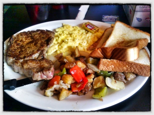8oz Ribeye + Scrambled eggs, + Home Fries + Toast - Big Tex Cantina