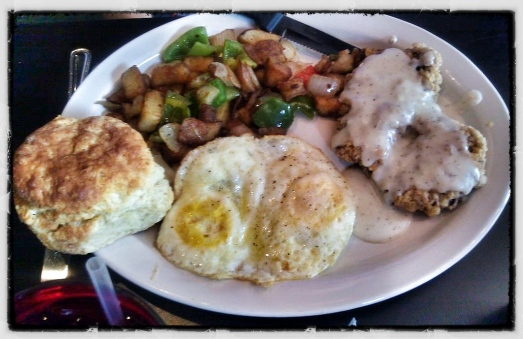 Chicken Fried Steak + 2 Eggs over hard + home fries + a biscuit