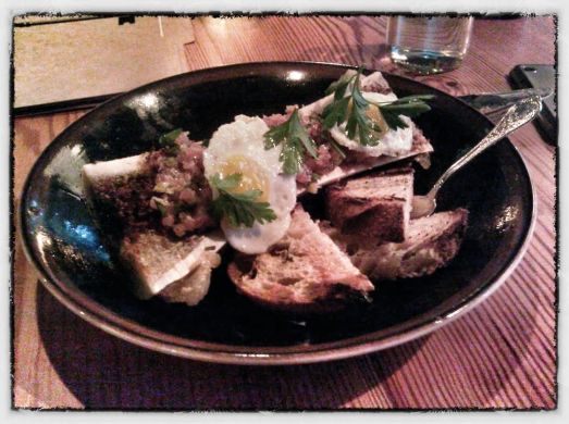 bone marrow, tuna tartare, fried quail eggs The Spence, ATL