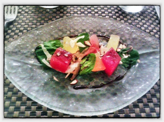 Watermelon Salad - Blue Cheese Mousse, Fennel, Almond, Saba.