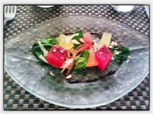 Watermelon Salad - Blue Cheese Mousse, Fennel, Almond, Saba.
