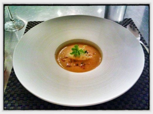 "Local Heirloom Tomato Gazpacho - Smoked Trout Cream, Summer Vegetable ""Tartare"""
