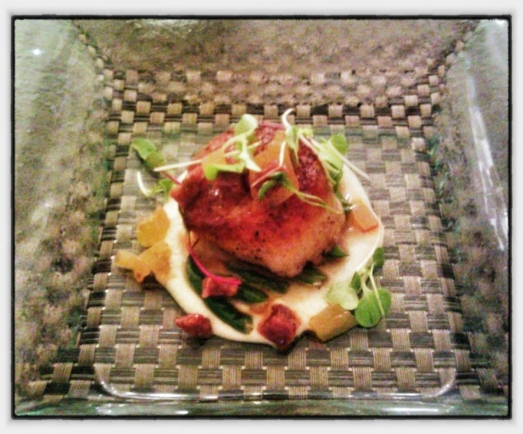 "Pan Seared Diver Scallops - ""Creamed"" Corn, Cherry Tomato, Arugula, Bacon Vinaigrette"