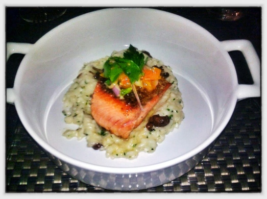 Pan Roasted Wild Blueback Salmon - Mousserone Mushroom Risotto, Sun Sugar Tomato, Celery.