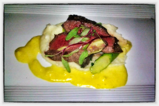 "Masami Ranch ""10 Star"" Wagyu Flatiron - Garlic Whipped Potato, Asparagus, Mushrooms, Crab Hollandaise"