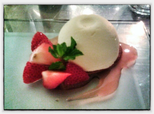 Spring Strawberries - Ricotta Cream Cake, Strawberry-Balsamic Jus