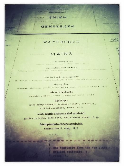 Watershed Atlanta Menu