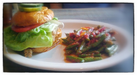 Watershed's Chicken fried steak sandwich & firecracker green beans