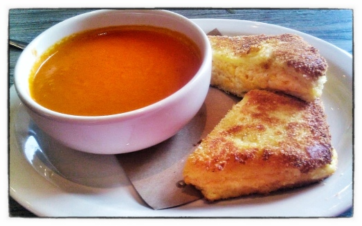 Watershed's Fried Pimento Cheese sandwich with Tomato Basil Soup